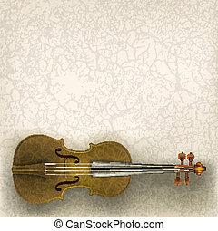 abstract, grunge, muziek, achtergrond, met, viool