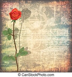 abstract grunge piano background with red rose