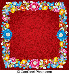 abstract grunge red background with flowers