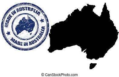 Made in Australia - Abstract grunge stamp with the text Made...