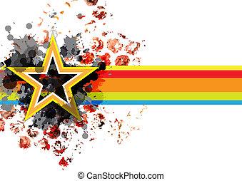 abstract, grunge, ster, spandoek, achtergrond
