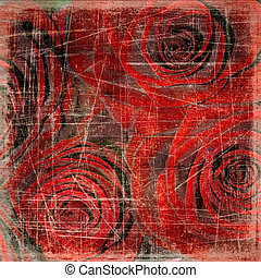 Abstract grunge textured background with roses