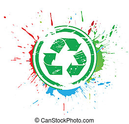 recycle icon - abstract grunge vector recycle icon. vector...