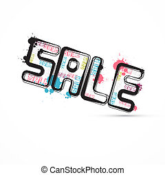 Abstract Grunge Vector Sale Title with Splashes, Blots