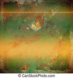 Abstract grunge weathered background of vintage texture. With different color patterns: yellow (beige); brown; green; red (orange); gray