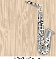 abstract grunge wooden background with saxophone
