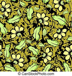 abstract grunge yellow flowers seamless background