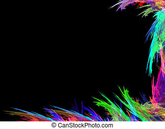 Abstract grungy colorful strokes of paint on a black background. With space for text