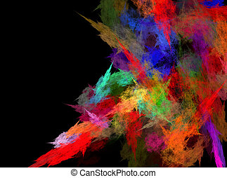 Abstract grungy colorful strokes of paint on a black ...