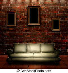 Abstract grungy interior with portrait on the wall for your design