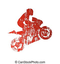 Abstract grungy motorcycle rider
