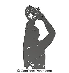 Abstract grungy shooting basketball player