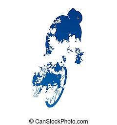Abstract grungy vector biker