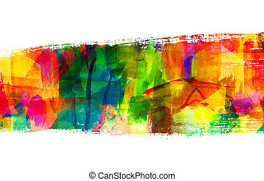 Abstract guasch painting. Brush stroke. Freehand drawing