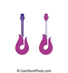 Abstract guitar icons with notes and tulip symbols