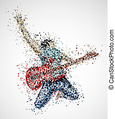 abstract, guitarist