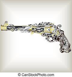 Abstract Gun - Illustration of abstract design gun.