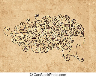 Abstract hairstyle, female head for your design