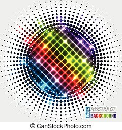 Abstract halftone background with rainbow cross
