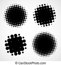 Abstract Halftone Backgrounds. Vector Set of Isolated Modern...