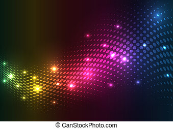 abstract, halftone, lights., vector, achtergrond