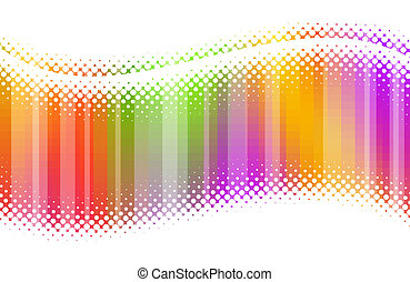 Abstract halftone multicolor waves
