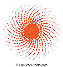 Abstract Halftone Sun Design Element.