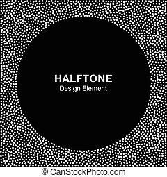 Abstract Halftone White Dots Frame on Black Background. Circle B