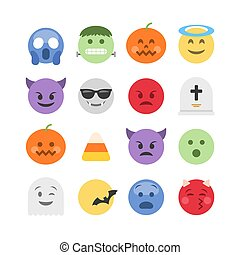 Abstract halloween emoji icon collection