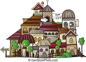cartoon vector construction town - Abstract hand drawn ...