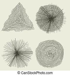 Abstract Hand Drawn Circles, Splashes And Shapes