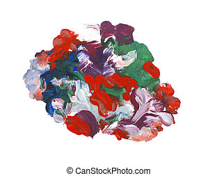 Abstract hand drawn colorful drop splatter stain art thick...