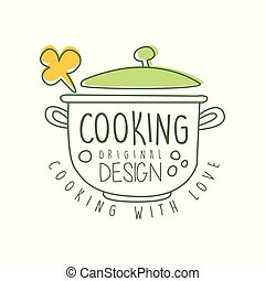 Abstract hand drawn culinary logo original design with saucepan and cooking with love lettering. Line label for food studio, home kitchen or cafe. Vector on white.