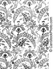 Abstract hand-drawn floral seamless pattern