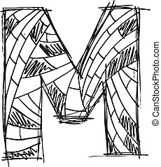 Abstract hand drawn letter M