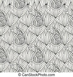 Abstract hand drawn outline doodle ornament seamless pattern with flowers and paisley isolated on white background. Coloring book for adult and older children.