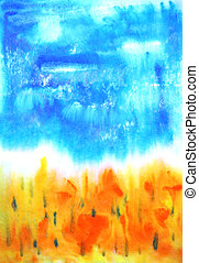 Abstract hand drawn paint background: fall landscape with yellow leaves and blue sky. Great for art texture, grunge design, and vintage paper