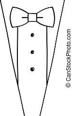 Abstract hand-drawn sketchy black tuxedo