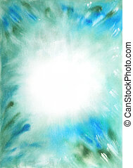 Abstract hand drawn watercolor background: blue and green blurs