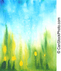 Abstract hand drawn watercolor background: blue sky, green grass and yellow flowers