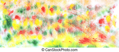 Abstract hand drawn watercolor background: green, red, and yellow blurs