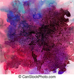 Abstract hand drawn watercolor background, vector illustration, stain watercolors colors wet on wet paper. Watercolor composition for scrapbook elements