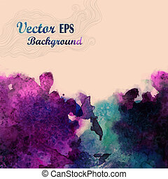 Abstract hand drawn watercolor background, vector illustration, stain watercolors colors wet on wet paper. Watercolor composition for scrapbook elements with empty space for text message.