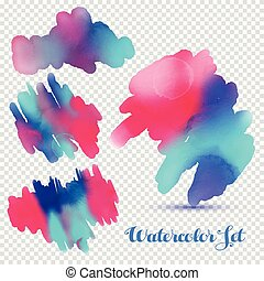 Abstract hand drawn watercolor blots background. Vector illustration.