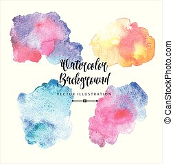 Abstract hand drawn watercolor blots background. Vector illustration. Set of colors blots.