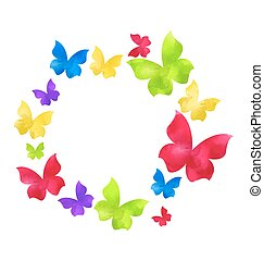 Abstract hand-drawn watercolor butterflies in round frame, ...