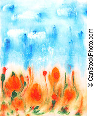 Abstract hand drawn watercolor background: blue sky, green leaves, and red flowers