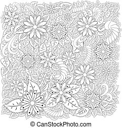 Abstract hand drawn zentangle style frame. Doodle art decorative border.