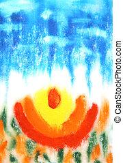 abstract, hand, getrokken, verf , background:, rood, bloemenpatronen, op, blauwe , sky-like, achtergrond., groot, voor, kunst, textuur, grunge, ontwerp, en, ouderwetse , papier
