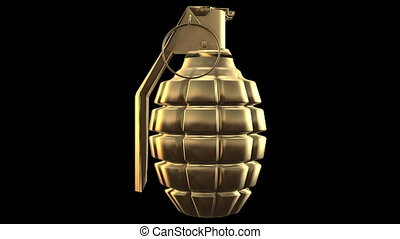 Abstract Hand grenade in gold color